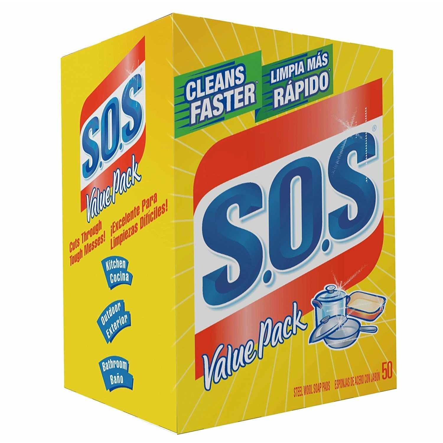S.O.S 98014 Steel Wool Soap Pad, (1 Pack (50 Count)) : Health & Household