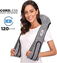 Cordless Shiatsu Back and Neck Massager with Heat - Portable Deep Kneading Massage for Shoulder- Rechargeable Hands Free Massager Pillow Automated Programs - Home, Car, Office (Gray)