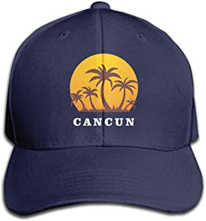 Cancun Mexico Sunset And Palm Trees Beach Adjustable Baseball Caps Unstructured Dad Hat 100% Cotton Black