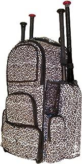 White Cheetah Print Camouflage Chita L Adult Softball Baseball Bat Equipment Backpack