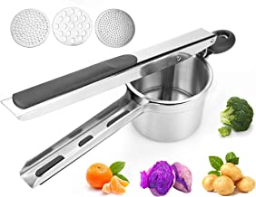 Ricer For Mashed Potatoes,Baby Food Masher,Stainless Steel Manual Potato Masher,Large Capacity,With 3 Replaceable Discs, M...