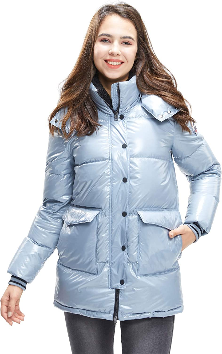 Ranking TOP1 Extreme Pop Womens Down Animer and price revision Jacket with Goose White Glossy Pure