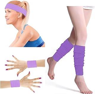 80's Retro Running Jogging Sports Headband Wristbands Leg Warmers Elbow Guard Set For Women Girls
