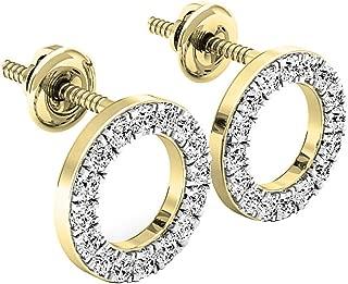 Dazzlingrock Collection Round White Diamond Ladies Circle Shape Stud Earrings