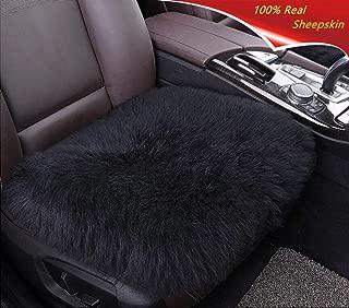 Sisha Sheepskin Seat Cushion Cover Winter Warm Natural Wool Car Seat Covers Universal Fit Most Car, Truck, SUV Van Front Black