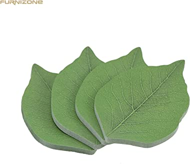FURNIZONE Leaf Sticky Notes, Cute Tree Leaf-Shape Paper Sticky Note, Recyclable Self-Stick Note Pads Memo Notes (4 Pads, 50 Sheets/Pad, 3.7 in x 2.6 in)