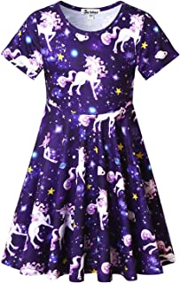 Unicorn Dresses for Girls Summer Swing Short Sleeve Casual Clothes for Kids