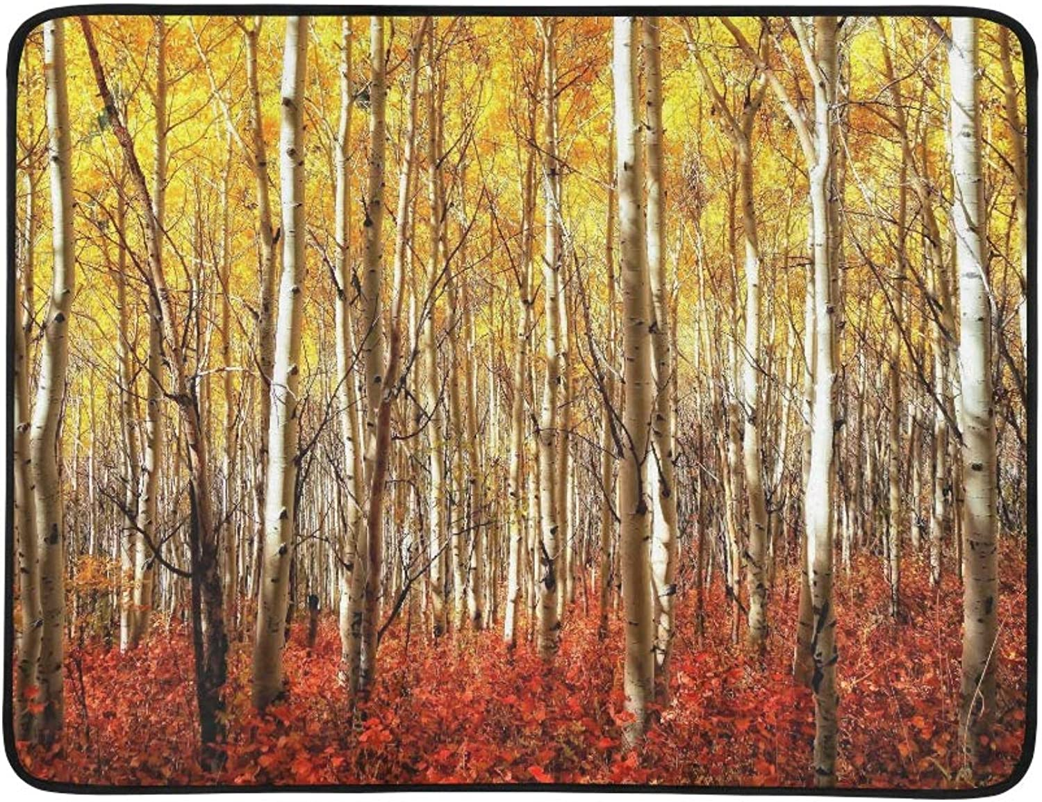 Yellow Aspens with Deep Red Bushes Below Red Gras Pattern Portable and Foldable Blanket Mat 60x78 Inch Handy Mat for Camping Picnic Beach Indoor Outdoor Travel