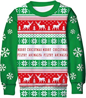 UNICOMIDEA Kids Ugly Christmas Sweater 3D Printed Funny Xmas Holiday Sweatshirt Jumpers for Boys Girls 6-16 Yrs