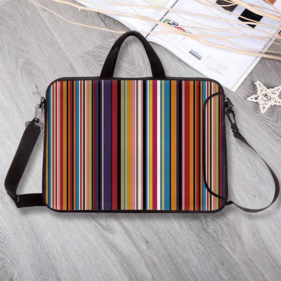 """Abstract Waterproof Neoprene Laptop Bag,Vibrant Colored Stripes Vertical Pattern Funky Modern Artistic Tile Illustration Laptop Bag for Business Casual or School,17.3""""L x 13""""W x 0.8""""H ogtm378362878386"""