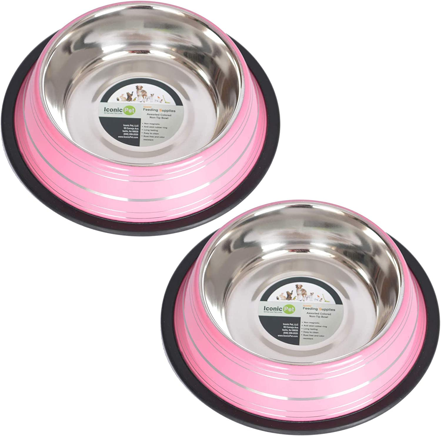 Iconic Pet 2 Pack color Splash Stripe NonSkid Pet Bowl for Dog or CatPink32Ounce4 Cup