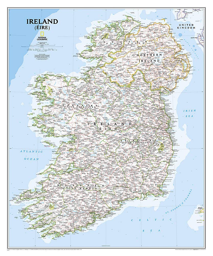 Image OfNational Geographic: Ireland Classic Wall Map - Laminated (30 X 36 Inches) (National Geographic Reference Map)