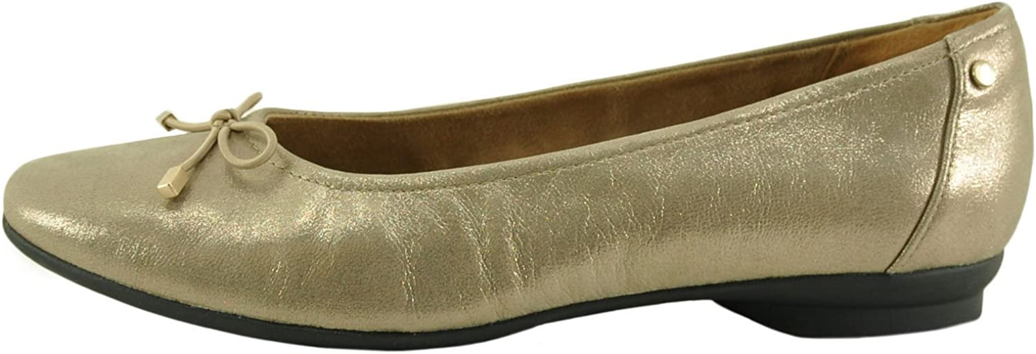 Clarks Candra Light Women's Leather Bow Ballet Flat shoes