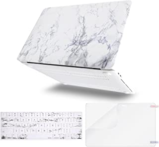 MOSISO MacBook Pro 13 inch Case 2019 2018 2017 2016 Release A2159 A1989 A1706 A1708, Plastic Pattern Hard Shell& Keyboard Cover& Screen Protector Compatible Newly MacBook Pro 13, White Marble