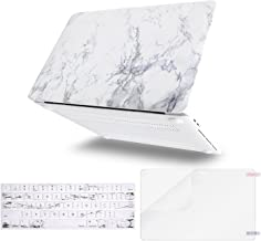 MOSISO MacBook Pro 13 inch Case 2019 2018 2017 2016 Release A2159 A1989 A1706 A1708, Plastic Pattern Hard Shell & Keyboard Cover & Screen Protector Compatible with MacBook Pro 13, White Marble