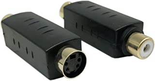 CERRXIAN S-Video Mini Din 4 PIN Female to RCA Composite Female Connector Adapter(sf-rf,2-Pack)