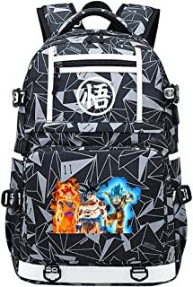 Anime Dragon Ball Mochilas de Lona de Anime Bolsas de Dibujos Animados Unisex Mochilas geniales Bolso de Hombro Doble,30x15x48cm