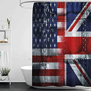 Shower Curtains Hooks Union Jack,Alliance Togetherness Theme Composition of UK and USA Flags Vintage,Navy Blue Red White W72 x L72,Shower Curtain for Shower stall