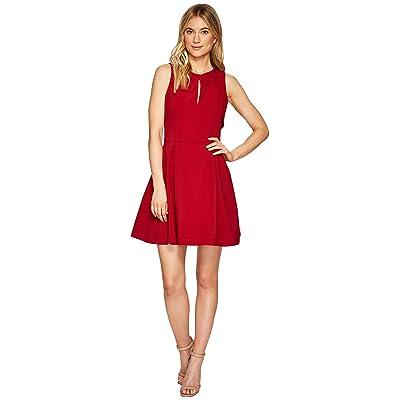 Adelyn Rae Samantha Fit Flare Dress (Deep Red) Women