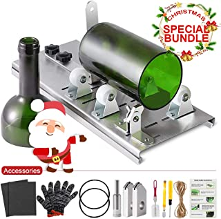 Glass Bottle Cutter Kit, Bottle Cutter DIY Machine for Cutting Round, Square, Oval Bottles and Mason Jars, Accessories Tool Kit Gloves Fixing Rubber Ring Hemp Rope Sanding Paper for Christmas DIY