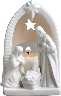 Creative Co-op Small Ceramic Nativity Tealight Holder