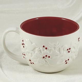 Starbucks Coffee Holiday 2008 White & Red Ceramic Raised Wreath w/Red Berries Mug 12 Fl. Oz.