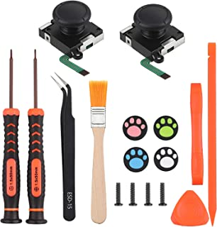 Vastar 2-Pack 3D Joycon Joystick Replacement, Analog Thumb Stick for Nintendo Switch Joy-Con Controller With Cross Screwdriver Tool&Tri-wing Screwdriver/Tweezers/ Pry Tools + 4 Cat Paw Thumbstick Caps