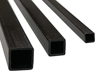 (4) Pultruded Square Carbon Fiber Tube - 5mm x 5mm x 1000mm - (4) Tubes