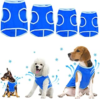 Zunea Dog Cooling Vest for Small Medium Large Dogs, Lightweight Summer Swamp Cooler Jacket Coat, Soft Breathable Chilly Ice Pet Apparel, Cool Clothes Prevent Sunstroke for Hot Weather Blue