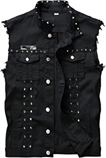Men's Punk Denim Vest Sleeveless Jean Jackets with Rivets