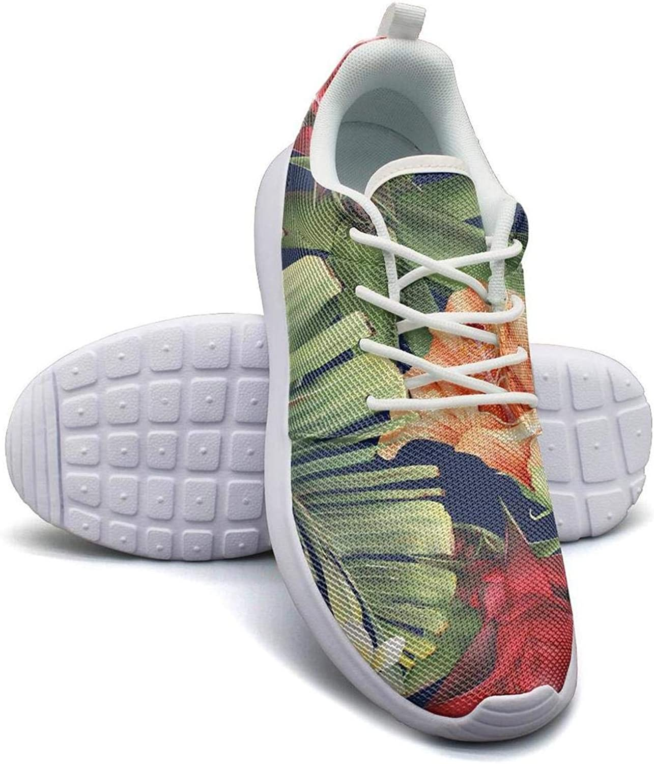 CHALi99 Fashion Lady Lightweight Mesh shoes Tropical Floral Strelitzia Loafers Outdoor Lace-Up