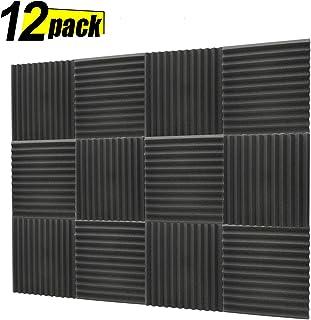 Acoustic Panels, Studio Foam, Sound Proof Panels, Noise Dampening Foam, Studio Music Equipment Acoustical Treatments Foam - 12 Pack - 12''12''1'' Black