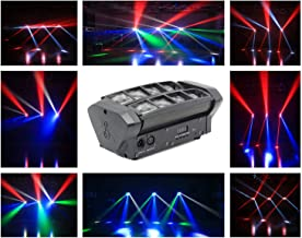 Rainiers Moving Head Light, Mini Spider 8x3W with RGBW 4 Color LED Light Disco Lamp DMX512 10/14CH Portable Stage Light for Indoor Disco, KTV, Club, Party