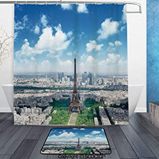 SCOCICI 3D Printed Waterproof Shower Curtain Set of 2 Aerial View of Eiffel Tower Skyline Cloudy Day Famous French Town 60