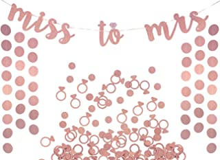 Miss to Mrs Banner, Garland & Confetti Set - Bachelorette, Engagement or Wedding Party Decorations - Sparkly Rose Gold Banner, Circle Garland & Super Fun Diamond Ring & Circle Confetti (Rose Gold)