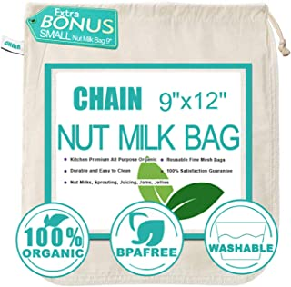 Nut Milk Bag Cloth Strainer for Foods, 2 Pack Organic Reusable Kitchen PREMIUM Fine Mesh Cheesecloth with Drawstrings, Canning, Sprouting, Juicing
