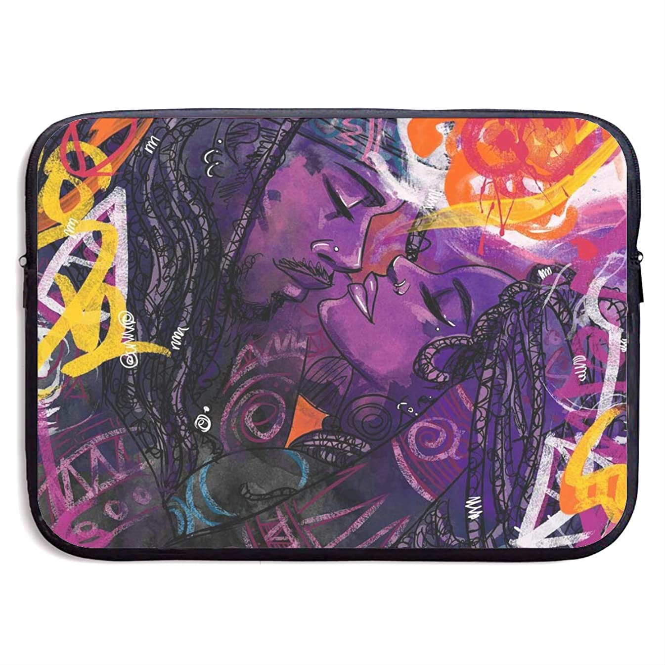 Classic Black Water Repellent Neoprene Laptop Sleeve Bag Cover Case Compatible 13 15 Inch, Computer Netbook Notebook Skin - African American Lovers Abstract Graffiti Print (4)