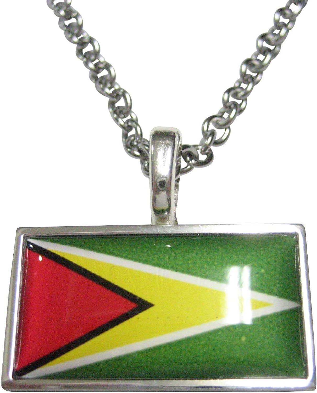 Kiola Designs Thin Bordered Guyana Flag Pendant Necklace