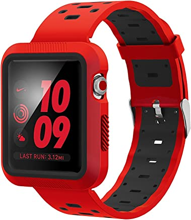 EloBeth for Apple Watch Band, Soft Silicone Sport Style Replacement Wrist Strap Stripe Color Splicing for Apple Watch Bands Series 3/Series 2/Series 1(42mm Red/Black)