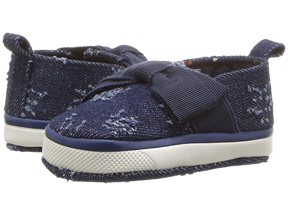 Baby Deer Soft Sole Slip-On with Bow (Infant) (Denim) Girl