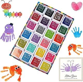 Kitchen-dream sellos de tinta de 24 colores, almohadillas de sellos lavables para niños, almohadilla de huellas dactilares no tóxica para hacer álbumes de recortes de goma y tarjetas de bricolaje