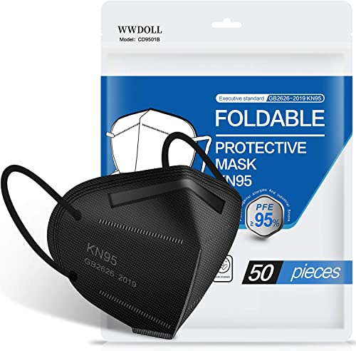 Black KN95 Face Mask - 50 Pack, WWDOLL New GB2626-2019 KN95 Mask 5-Layer Breathable Cup Dust Mask Black