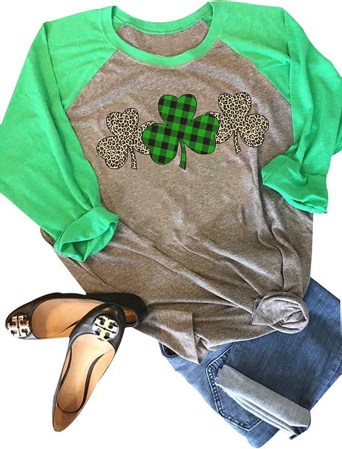 St Patricks Day Shirt Women Shamrock Lucky T-Shirts Irish Festival Holiday Tee Tops
