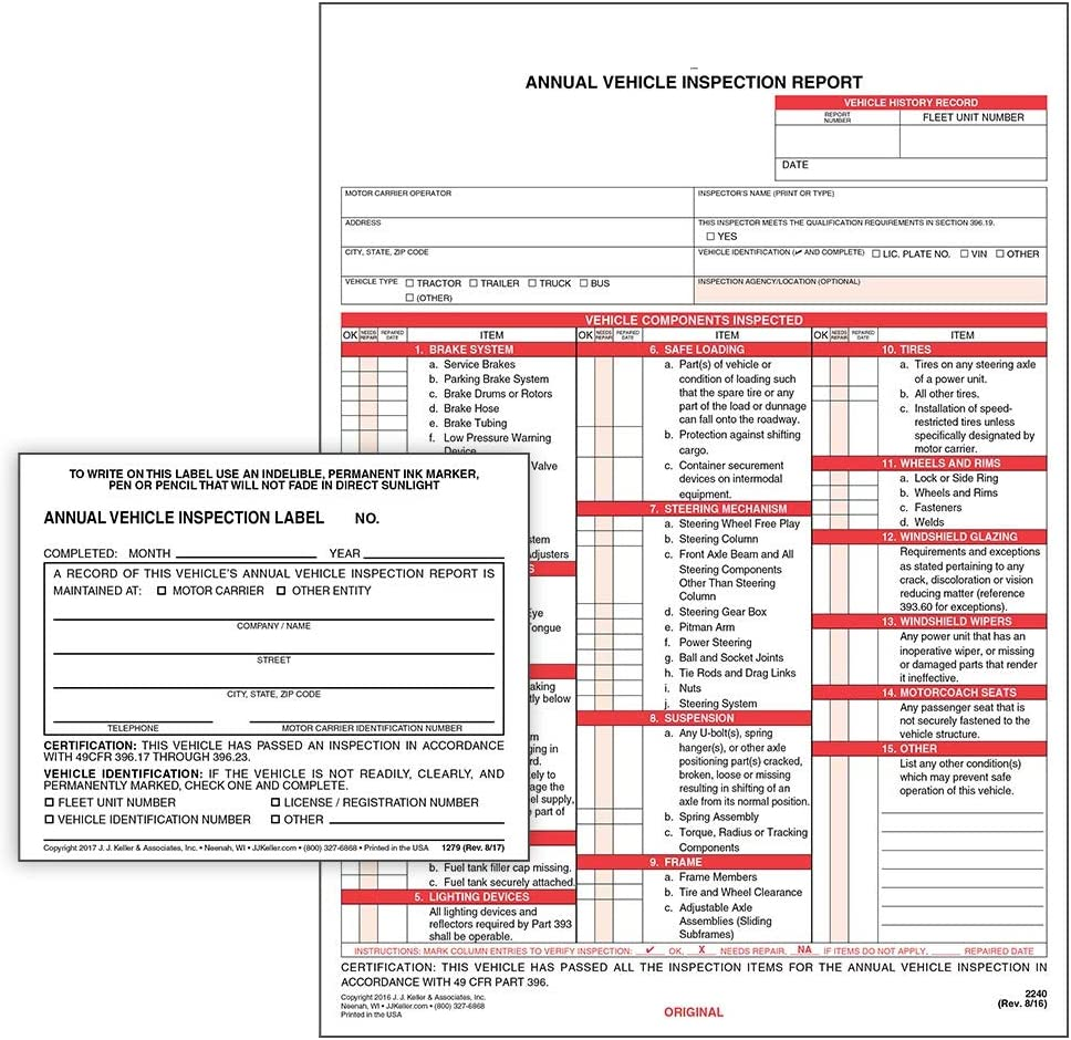 Limited price sale Weekly update Annual Vehicle Inspection Report Interleaf Carbon 3-Ply Snap-