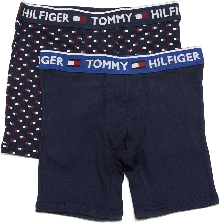 Tommy Hilfiger Men's Underwear 2 Pack Bold Cotton Boxer Briefs, Night Blue, Medium