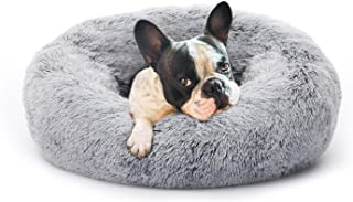 Eterish Fluffy Round Calming Dog Bed Plush Faux Fur, Anxiety Donut Dog Bed for Small, Medium Dogs and Cats, Pet Cat Bed wi...