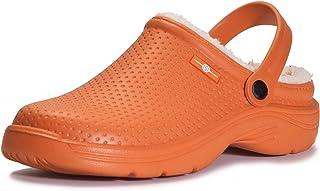 Women Garden Shoes Winter Mens Lined Clog Warm Garden Slippers Waterproof Gardening Clogs Slip-on Mules House Slippers Kit...