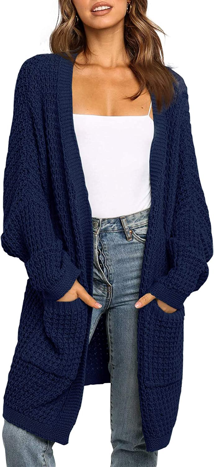 UEU Women's Long Batwing Sleeve Open Front Chunky Knit Cardigan Sweater with Pockets