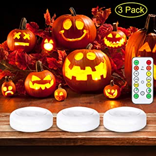 Litake Halloween LED Pumpkin Lights with Remote and Timer, Battery Operated Dimmable Pumpkin Lights for Halloween Jack-O-Lantern Decorations,3 Packs
