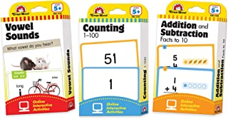 Evan-Moor Learning Line Flashcards Set of 3 Packs - Addition & Subtraction, Vowel Sounds and Counting, Age 5+ & Grade K+